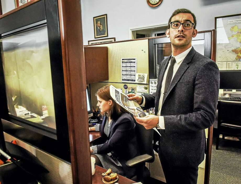 Yousef Bashir, right, a Palestinian who now works on Capitol Hill as an intern for Rep. Gerald E. Connolly, D-Va., is shown with legislative assistant Molly Cole in Connolly's office on Feb. 28 in Washington. Photo: Washington Post Photo By Bill O'Leary / The Washington Post