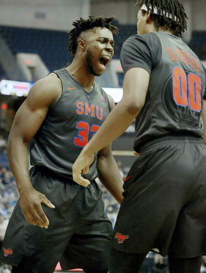SMU's Semi Ojeleye, left, is David Borges' pick for AAC Player of the Year. Photo: Jessica Hill — The Associated Press File Photo  / AP2017