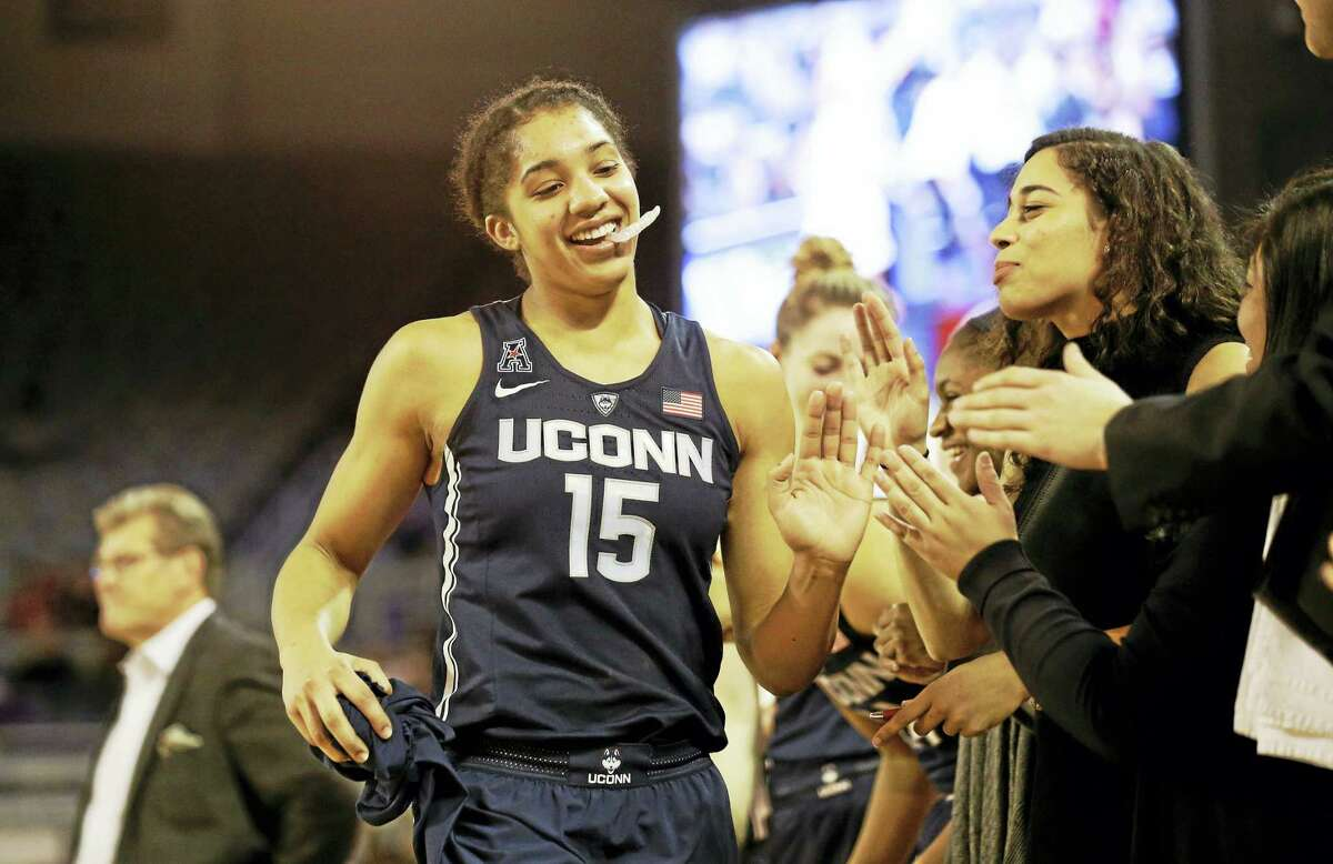 UConn's Gabby Williams (15) was named the AAC Defensive Player of the Year.