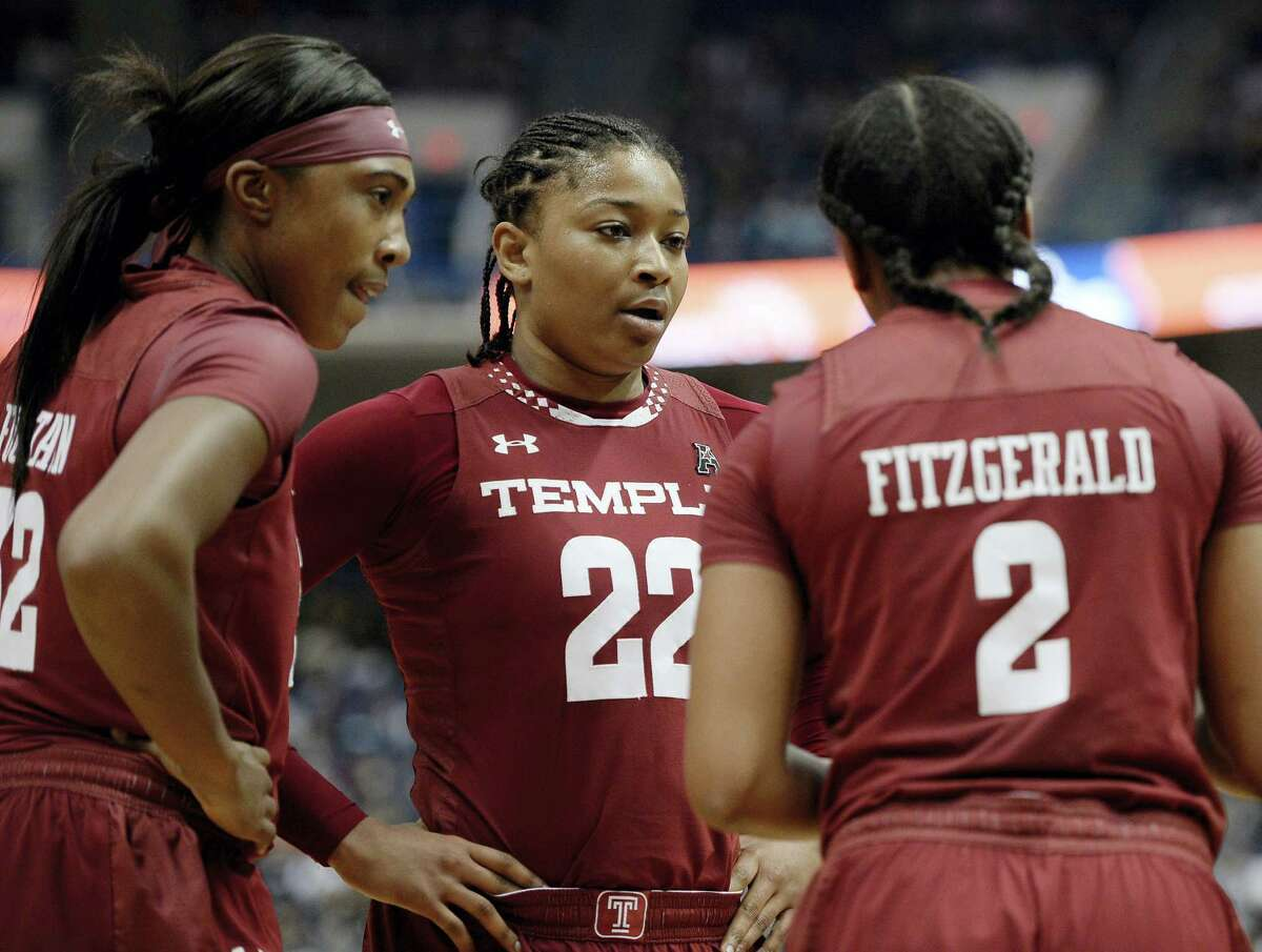 Temple's Tanaya Atkinson, center, was named the AAC Sixth Player of the Year.