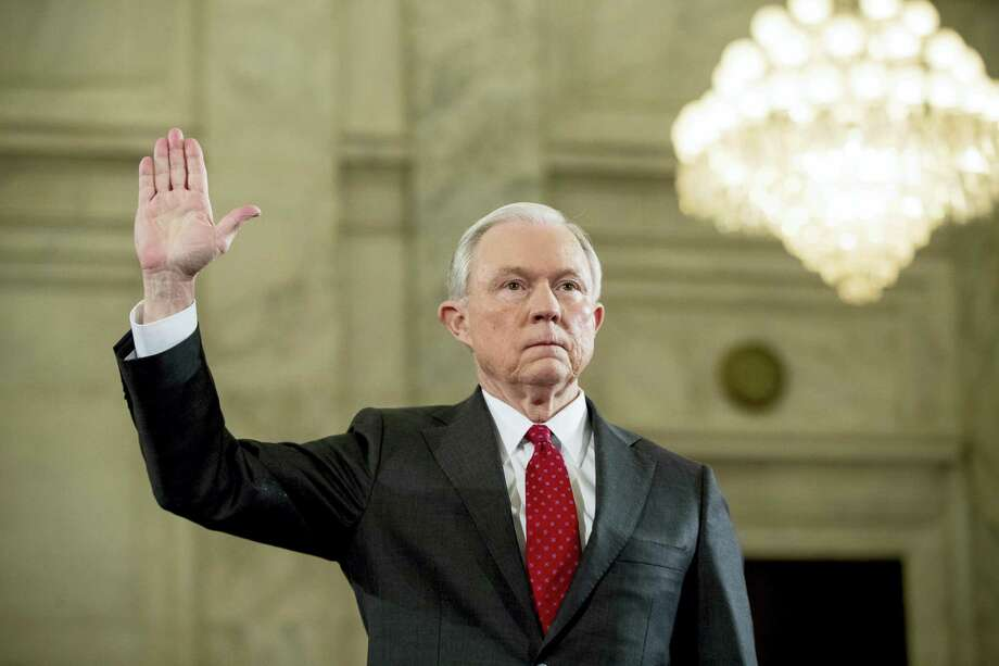 Attorney General-designate, Sen. Jeff Sessions, R-Ala. is sworn in on Capitol Hill in Washington Jan. 10, 2017, prior to testifying at his confirmation hearing before the Senate Judiciary Committee. Photo: AP Photo — Andrew Harnik  / Copyright 2017 The Associated Press. All rights reserved.