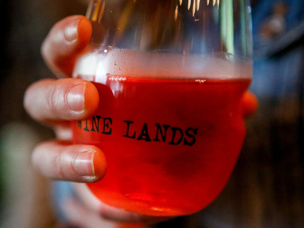 A glass of rose from Marietta Cellars in the Wine Lands Tent during the 10th annual Outside Lands Festival in Golden Gate Park in San Francisco on Friday, August 11, 2017.