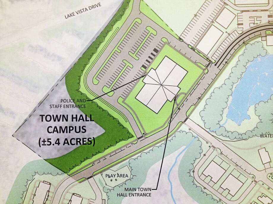 The proposal to locate the East Hampton Town Hall/police station complex on a 5.4-acre parcel within the Edgewater Hill development on Route 66. Photo: File Photo