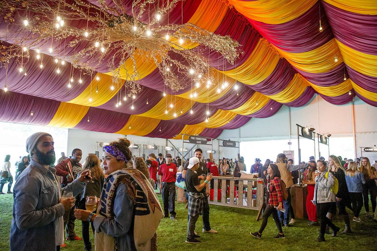 The Wine Lands tent at the Outside Lands music festival at Golden Gate Park on Friday, Aug. 11, 2017, in San Francisco, Calif.