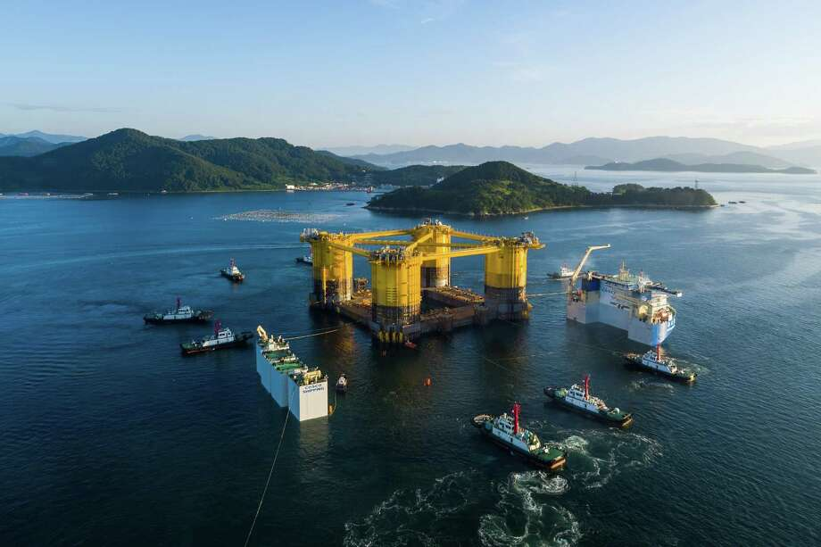 The hull of a massive deep-water platform owned by Royal Dutch Shell recently left South Korean shipyards as it set off for Texas. The hull will be attached to the topsides of the platform before its installation in the Gulf of Mexico. Photo: Shell