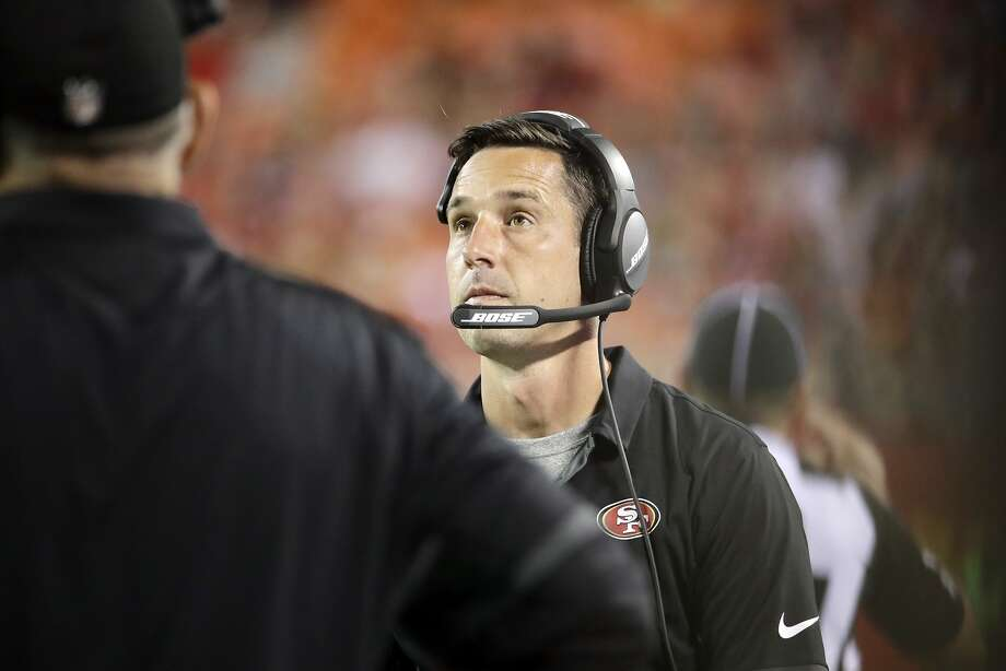 San Francisco 49ers head coach Kyle Shanahan looks at the score board during the first half of an NFL preseason football game against the Kansas City Chiefs in Kansas City, Mo., Friday, Aug. 11, 2017. (AP Photo/Charlie Riedel) Photo: Charlie Riedel, Associated Press