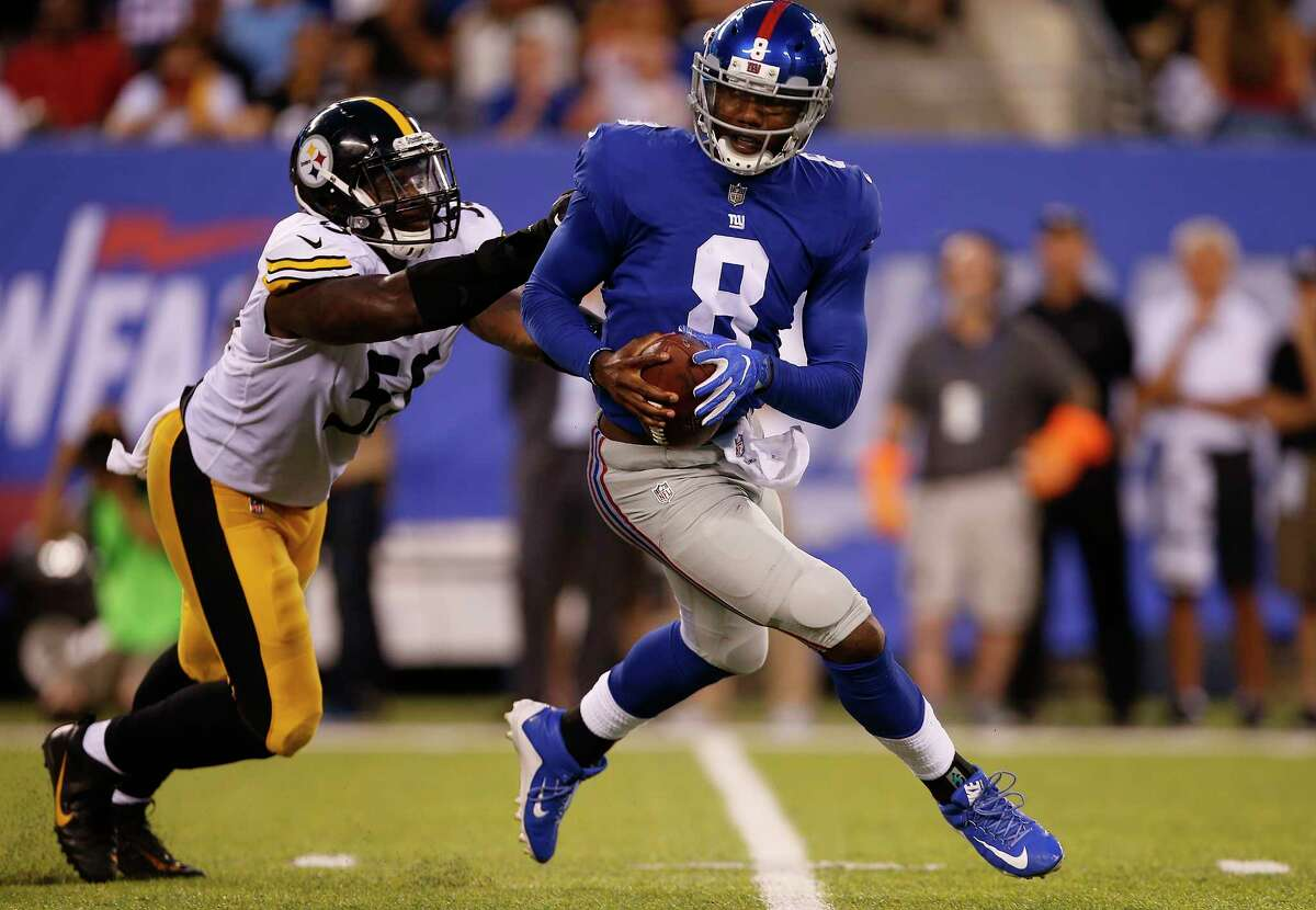 EAST RUTHERFORD, NJ - AUGUST 11: Quarterback Josh Johnson #8 of the New York Giants is chased by Arthur Moats #55 of the Pittsburgh Steelers during the first quarter of an NFL preseason game at MetLife Stadium on August 11, 2017 in East Rutherford, New Jersey. The Steelers defeated the Giants 20-12. (Photo by Rich Schultz/Getty Images) ORG XMIT: 700069845