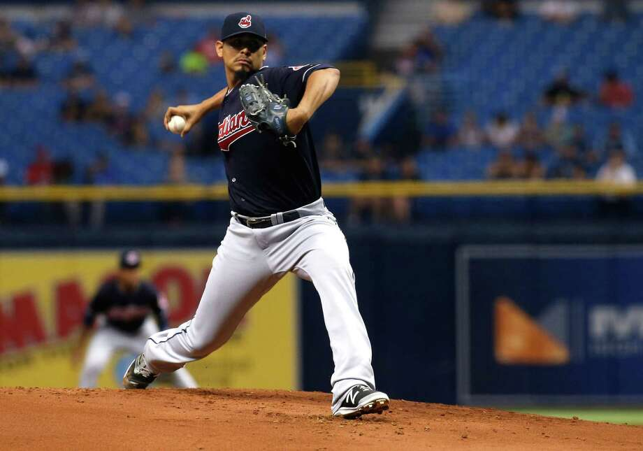 ST. PETERSBURG, FL - AUGUST 11:  Carlos Carrasco #59 of the Cleveland Indians pitches during the first inning of a game against the Tampa Bay Rays on August 11, 2017 at Tropicana Field in St. Petersburg, Florida. (Photo by Brian Blanco/Getty Images) ORG XMIT: 700011985 Photo: Brian Blanco / 2017 Getty Images