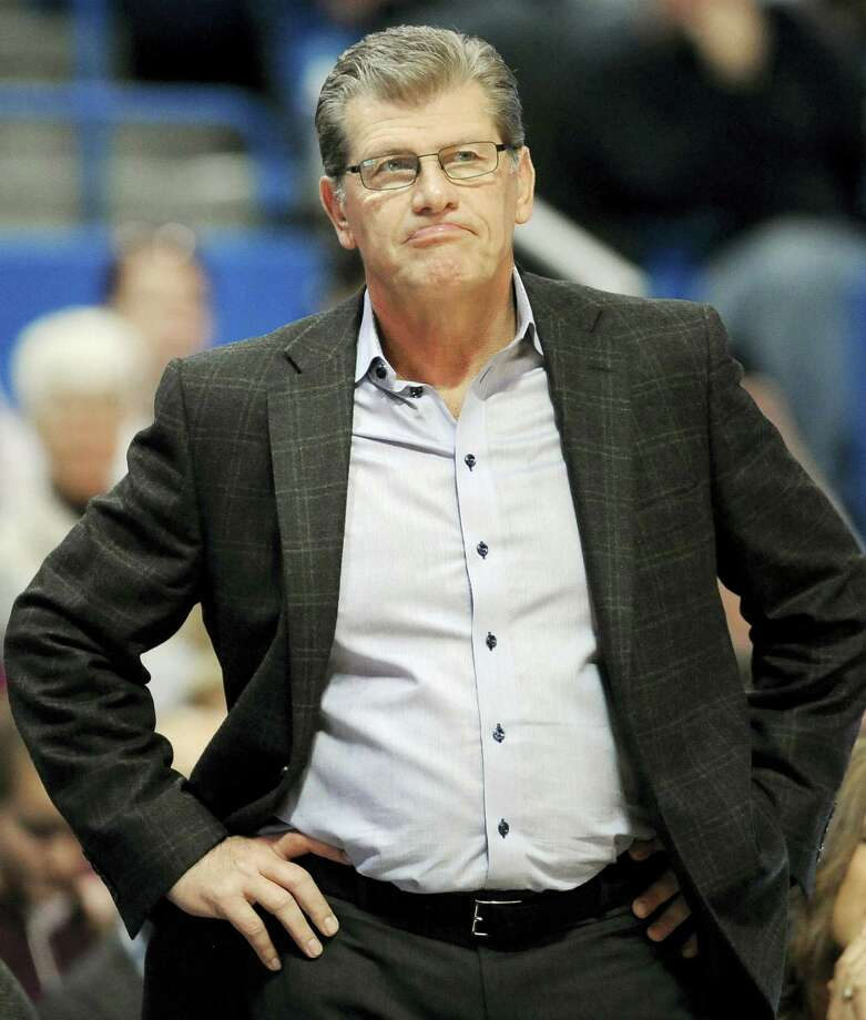 UConn women's basketball coach Geno Auriemma watches the second half against Chattanooga Tuesday night. Photo: JESSICA HILL — The Associated Press  / FR125654 AP