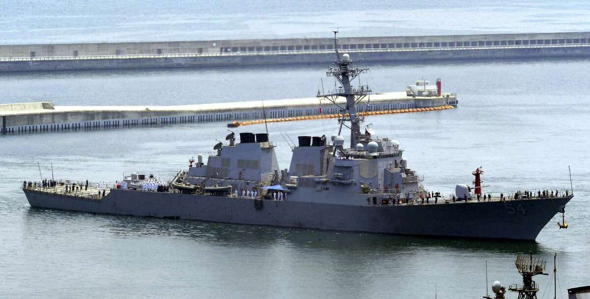 In this June 4, 2010 photo, the USS Curtis Wilbur arrives at a naval base in Busan, South Korea, for South Korea-U.S. joint drills.
