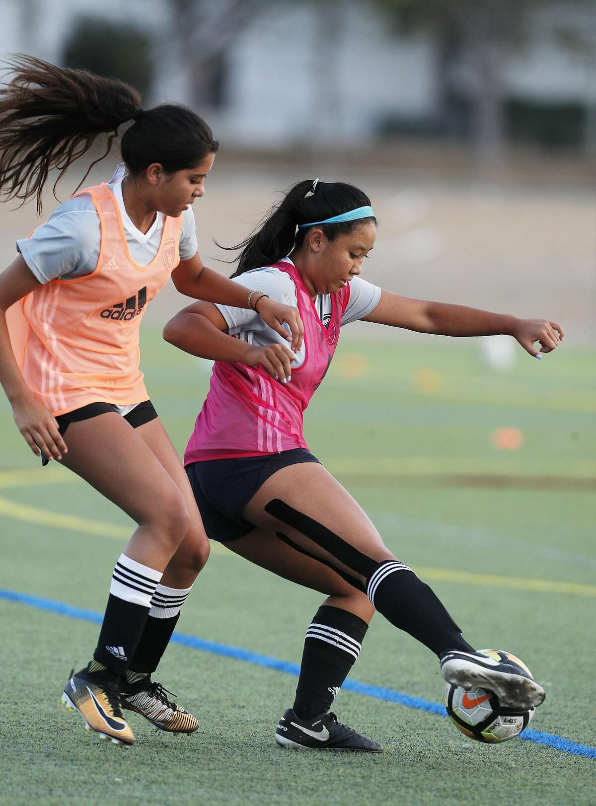 Josie Kim, right, and Isabelle Loaisiga, left, work out during San Jose Earthquakes Academy practice in Sunnyvale, Calif., on Wednesday, August 9, 2017. The San Jose Earthquakes have built one of the most successful academy programs and while the senior team isn't very good, the future of the Earthquakes - and hopefully American soccer - is promising thanks to the infrastructure that MLS is supporting. during San Jose Earthquakes Academy practice in Sunnyvale, Calif., on Wednesday, August 9, 2017. The San Jose Earthquakes have built one of the most successful academy programs and while the senior team isn't very good, the future of the Earthquakes - and hopefully American soccer - is promising thanks to the infrastructure that MLS is supporting.