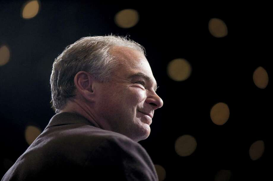 Democratic vice presidential candidate, Sen. Tim Kaine, D-Va., attends a rally at David L. Lawrence Convention in Pittsburgh on July 30, 2016. Democratic presidential candidate Hillary Clinton and Kaine are on a three day bus tour through the rust belt. Photo: AP Photo/Andrew Harnik  / Copyright 2016 The Associated Press. All rights reserved. This material may not be published, broadcast, rewritten or redistribu