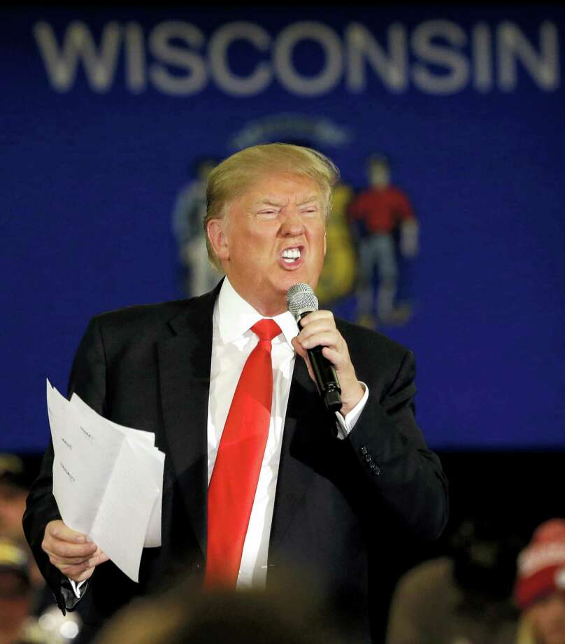 Republican presidential candidate Donald Trump reacts as he speaks at a campaign stop on March 30, 2016, in Appleton, Wis. Photo: AP Photo/Nam Y. Huh  / AP
