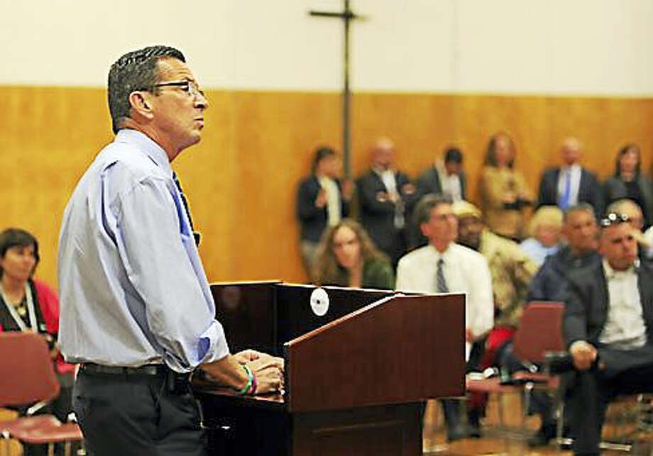 Gov. Dannel P. Malloy at the Town Hall meeting in Enfield Wednesday Photo: Christine Stuart Photo