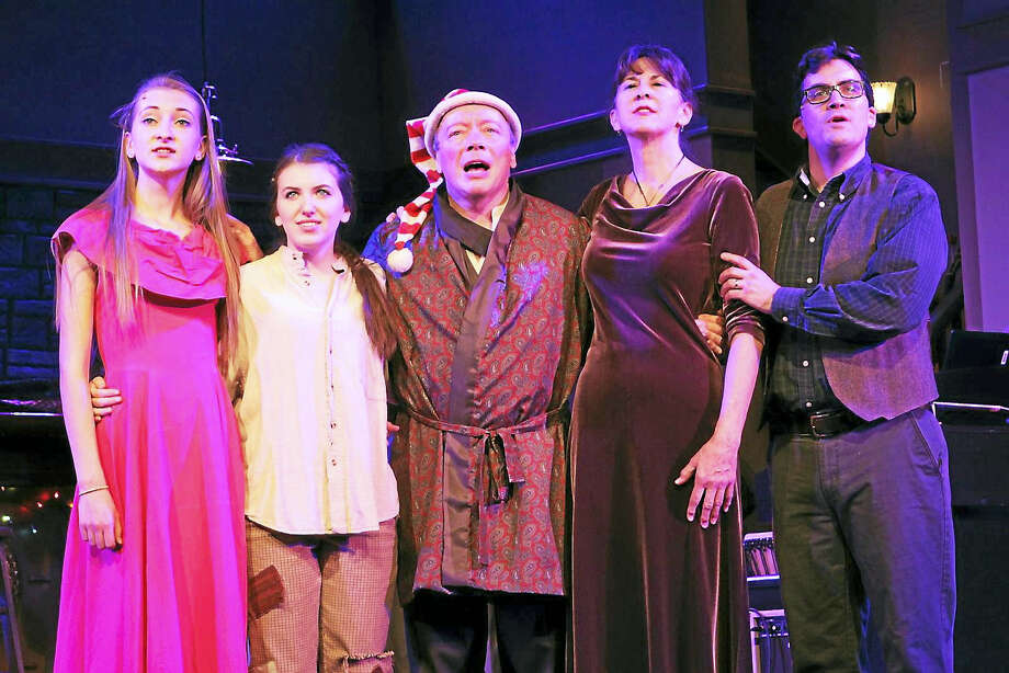 Photos courtesy of Ivoryton Playhouse The Bells of Dublin Part III: A New York Fairytale opens Dec. 7, with performances continuing through Dec. 18. Above are cast members Olivia Harry, Jenna Berloni, R.Bruce Connelly, Nancy Cardone and Michael McDermott. Photo: Digital First Media