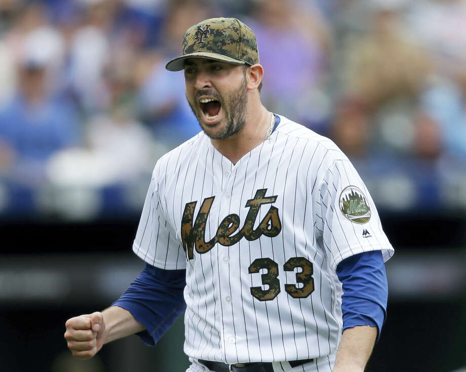 New York Mets starting pitcher Matt Harvey reacts during the seventh inning against the Chicago White Sox at Citi Field, Monday. Photo: Seth Menig — The Associated Press  / Copyright 2016 The Associated Press. All rights reserved. This material may not be published, broadcast, rewritten or redistribu