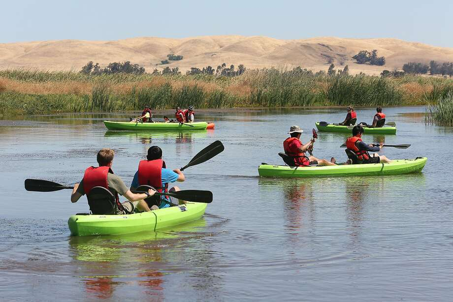 Kayaking at Grizzly Ranch on the Suisun Marsh where 30 youth from inner cities in the Bay Area are taking part in an outdoors camp. Photo: Liz Hafalia, The Chronicle
