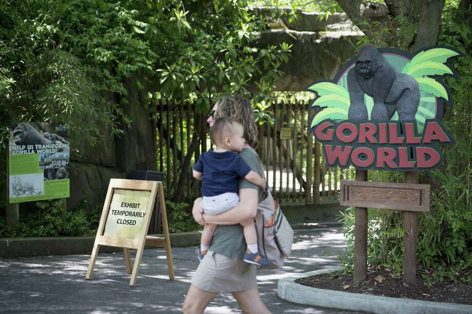 A visitor with a small child passes outside the shuttered Gorilla World exhibit at the Cincinnati Zoo & Botanical Garden, Sunday, May 29, 2016, in Cincinnati. On Saturday, a special zoo response team shot and killed Harambe, a 17-year-old gorilla, that grabbed and dragged a 4-year-old boy who fell into the gorilla exhibit moat. Authorities said the boy is expected to recover. He was taken to Cincinnati Children's Hospital Medical Center. Photo: AP Photo/John Minchillo   / AP
