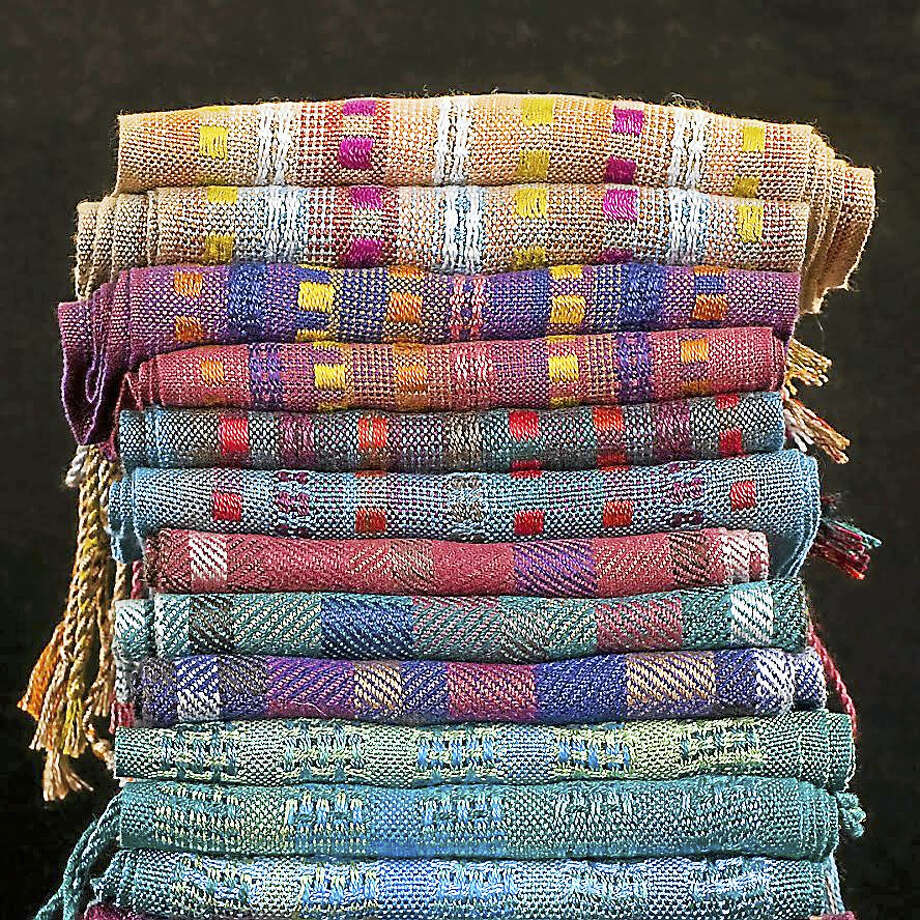 Contributed photoWoven scarves and blankets by Claudia Spaulding will be found at the upcoming fine arts and crafts show in Hartford. Photo: Journal Register Co.