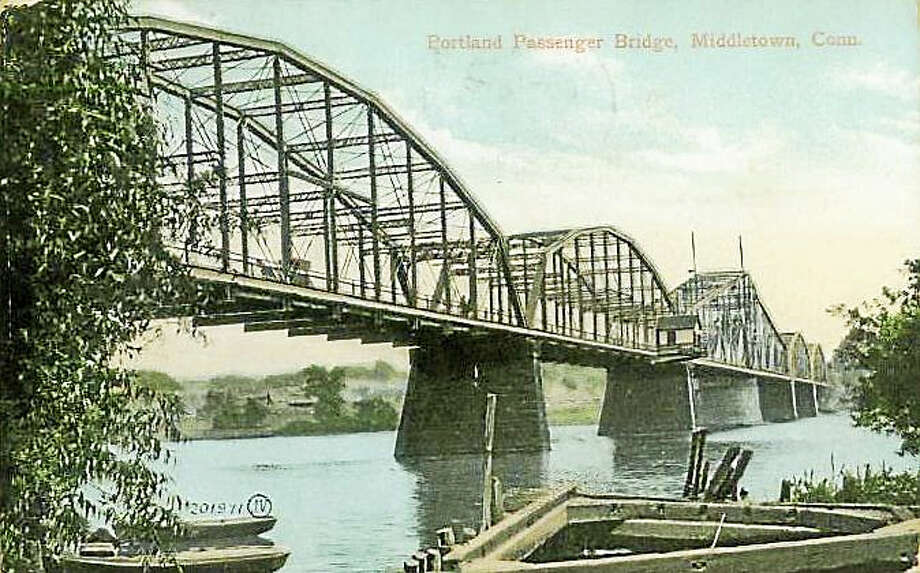The town of Portland, incorporated in 1841, is celebrating its 175th year in 2016. Its history includes the precursor to the Arrigoni Bridge, the Portland Passenger Bridge, shown in this postcard from 1907. Photo: Courtesy Photo