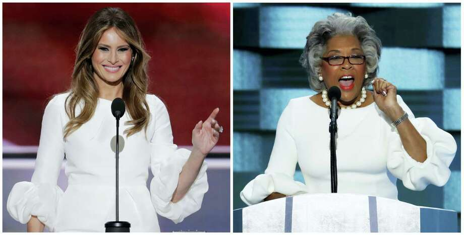 In this photo combo of 2016 file photos, Melania Trump, left, speaks at the Republican National Convention in Cleveland, and U.S. Rep. Joyce Beatty, right, speaks at the Democratic National Convention in Philadelphia. Beatty took the stage at the DNC on Thursday, July 28, in a dress that looked very similar to the one Trump wore during her remarks a week earlier at the RNC. Photo: AP Photo/J. Scott Applewhite   / AP