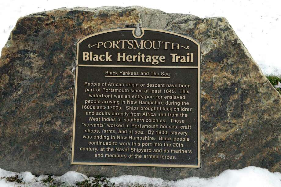 In this Jan. 26, 2016 photo, a slavery port marker sits along the shore in Portsmouth, N.H., identifying a port where slaves arrived or where ships were sent to be used in the trade. A project aimed at bringing the little-known history of some of Americaís most prolific slave-trade ports to the public is moving to its next target: Rhode Island, where some 1,000 slave-trading voyages were launched. Photo: AP Photo/Elise Amendola  / AP