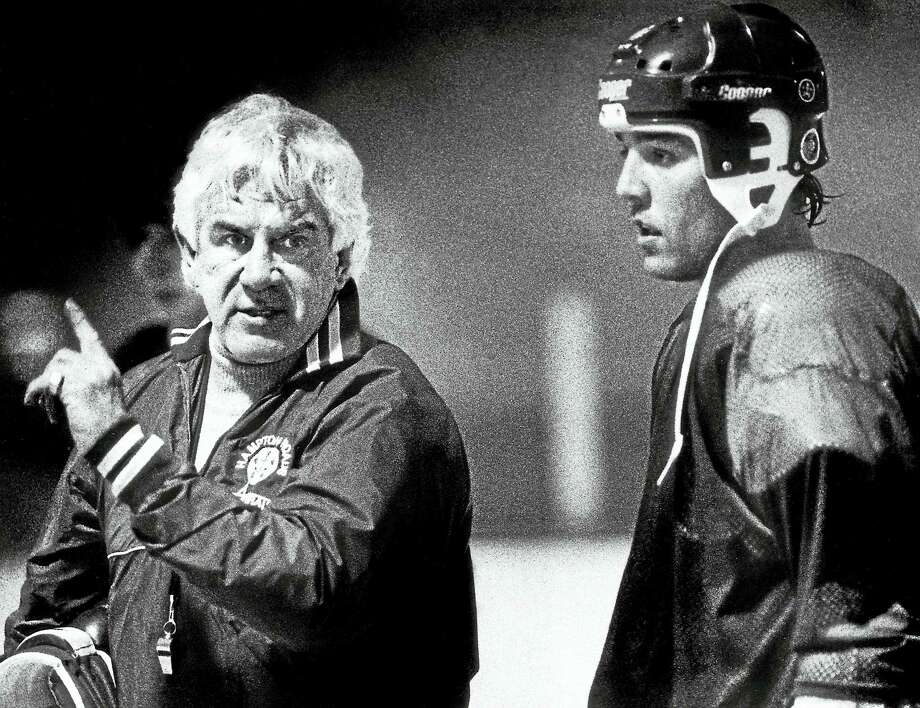 Former New Haven Blades player John Brophy, left, who went on to a long career coaching pro hockey, passed away this week at 83. Photo: The Associated Press File Photo/Virginian-Pilot  / AP1990