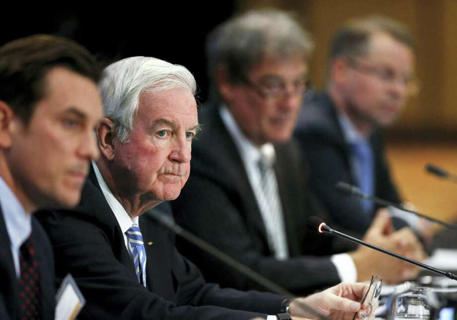 In this Nov. 18, 2015 photo, Craig Reedie, second from left, president of the World Anti-Doping Agency, (WADA), listens to a question during a news conference following a meeting in which WADA leadership voted to declare Russia's anti-doping operation out of compliance, in Colorado Springs, Colo. Photo: AP Photo/Brennan Linsley, File  / Copyright 2016 The Associated Press. All rights reserved. This material may not be published, broadcast, rewritten or redistribu