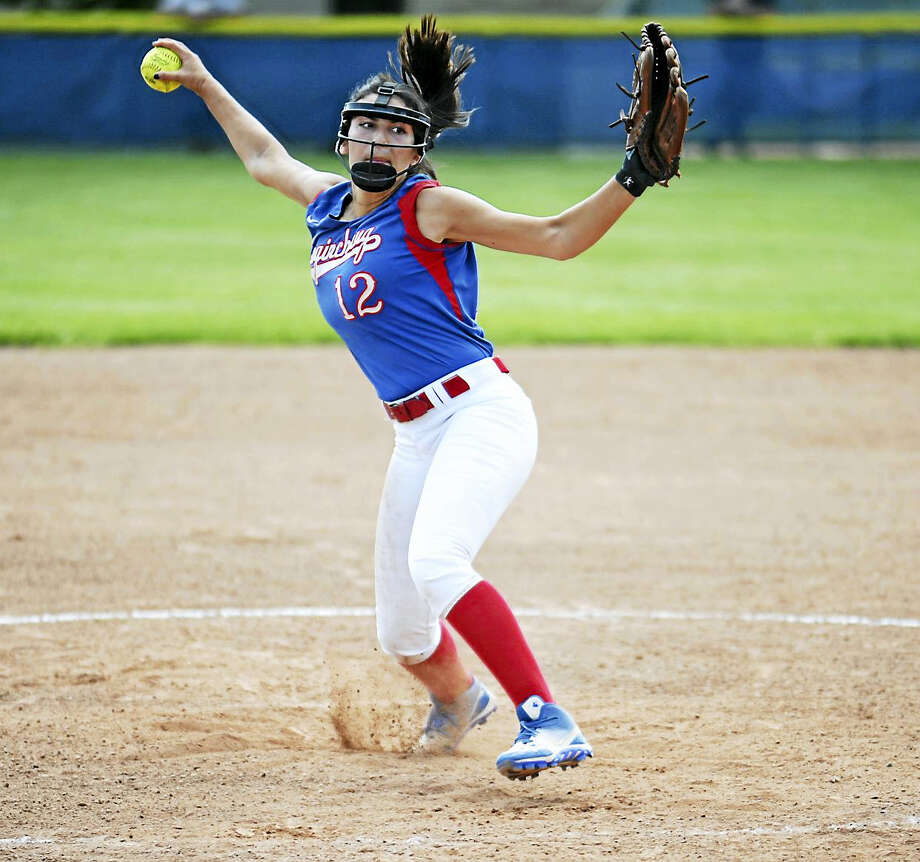 Jimmy Zanor - The Middletown PressCoginchaug senior Gabby Diaz fires a pitch during the Blue Devils' 1-0 win over Morgan on Friday at Parmalee Field. Photo: Journal Register Co.