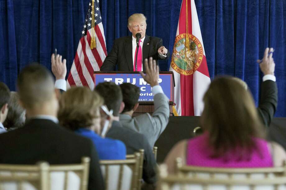 Republican presidential candidate Donald Trump speaks during a news conference at Trump National Doral, Wednesday, July 27, 2016, in Tampa, Fla. Photo: AP Photo/Evan Vucci   / Copyright 2016 The Associated Press. All rights reserved. This material may not be published, broadcast, rewritten or redistribu