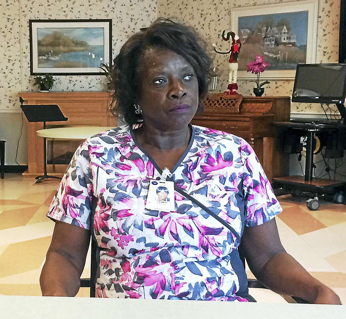 Gloria Jackson at Whitney Center in Hamden in 2016. Jackson got a job there as a certified nursing assistant with help from Associates for Training and Development, a nonprofit with an office in New Haven.