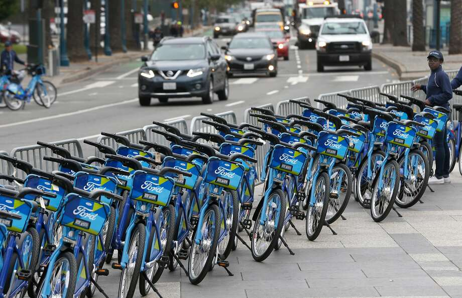 San FranciscoFord GoBikeSingle ride cost: $3 per 30-min. tripDay pass: $9.95 for unlimited 30-min. tripsAnnual membership: $124 for unlimited 45-min. rides; $3 for additional 15 min. (Annual membership price rises to $149 after Aug. 31.) Photo: Paul Chinn / The Chronicle