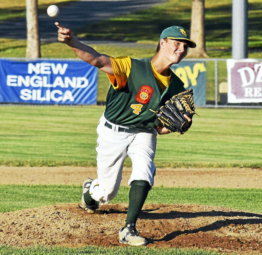 Derek Turner - Special to The Press RCP's Tucker Lord fires a pitch during Post 105's 6-2 victory over New London on Tuesday at Rotary Field in South Windsor. Photo: Journal Register Co.