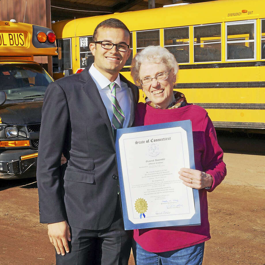 Sen. Art Linares honored Haddam-Killingworth school bus and van driver Cathy Brutzman for her years of dedicated service to the community in February. Photo: File Photo