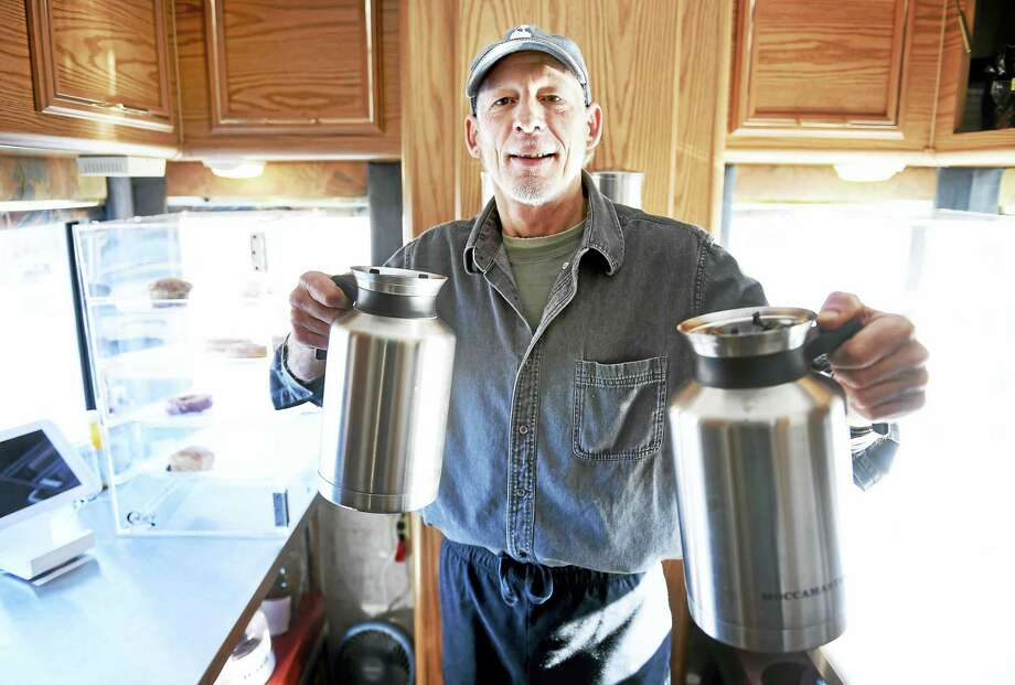 David Short, owner of Coffee Depot, Inc., inside his coffee/food truck in the parking lot of Tuxis Lumber in Madison. Photo: (Arnold Gold-New Haven Register)
