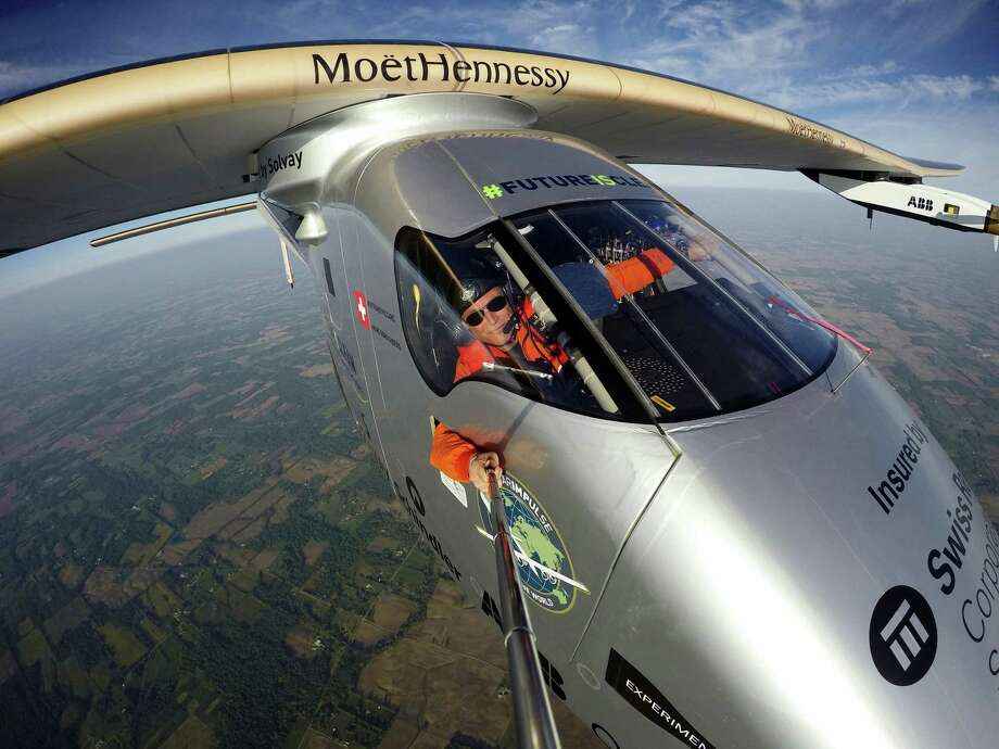 "Bertrand Piccard takes a selfie on board the ""Solar Impulse 2"" during his flight from Dayton, Ohio to Lehigh Valley International Airport in Allentown, Pa., where he landed May 25 2016. The plane was expected to make at least one more stop in the United States — in New York — before crossing the Atlantic Ocean to Europe or northern Africa. Photo: Bertrand Piccard/Solar Impulse Via AP  / Solar Impulse"