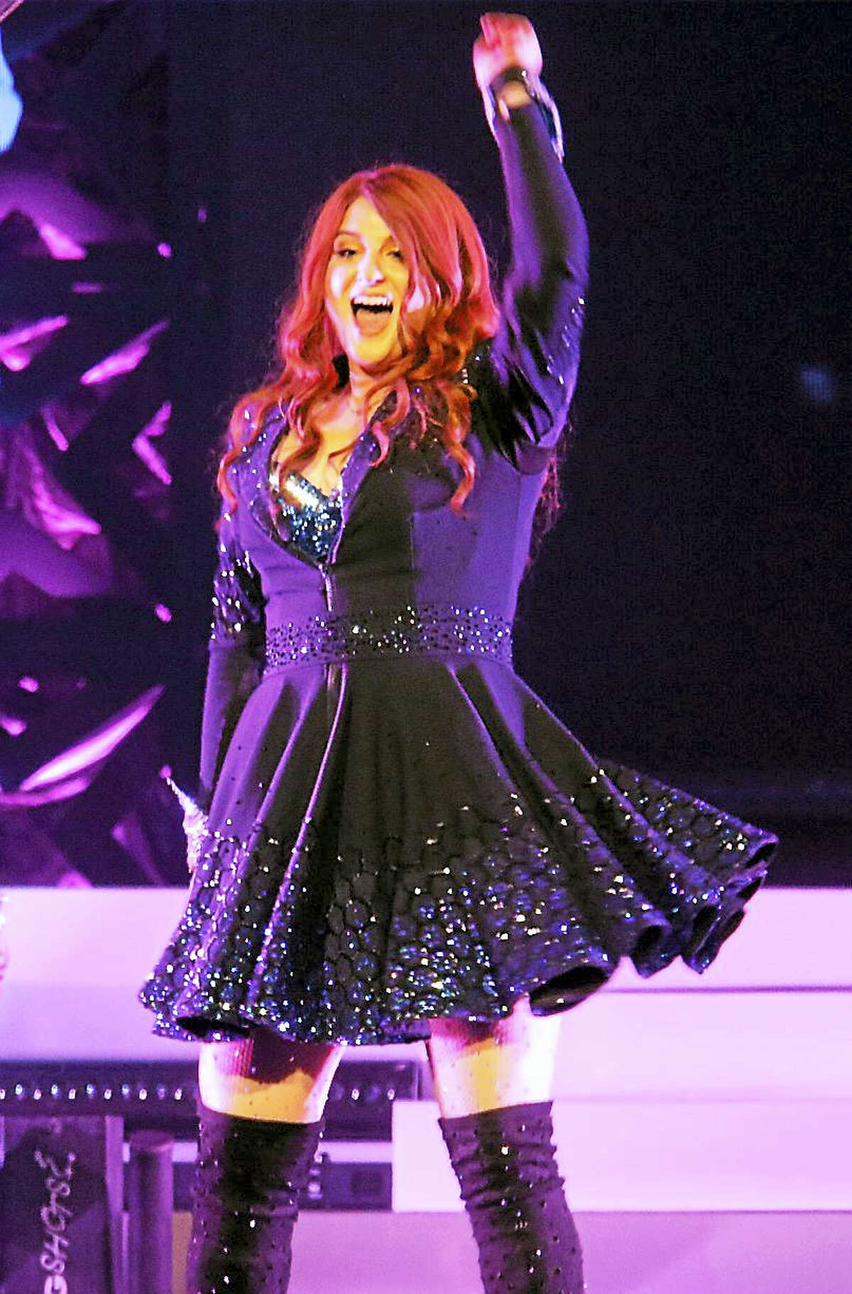 Photo by John AtashianSinger, songwriter and record producer Meghan Trainor dances and has fun on stage during her sold-out concert appearance at the Mohegan Sun Casino in Uncasville on Sept. 22. Meghan is currently on a US tour in support of her new CD, Thank You.
