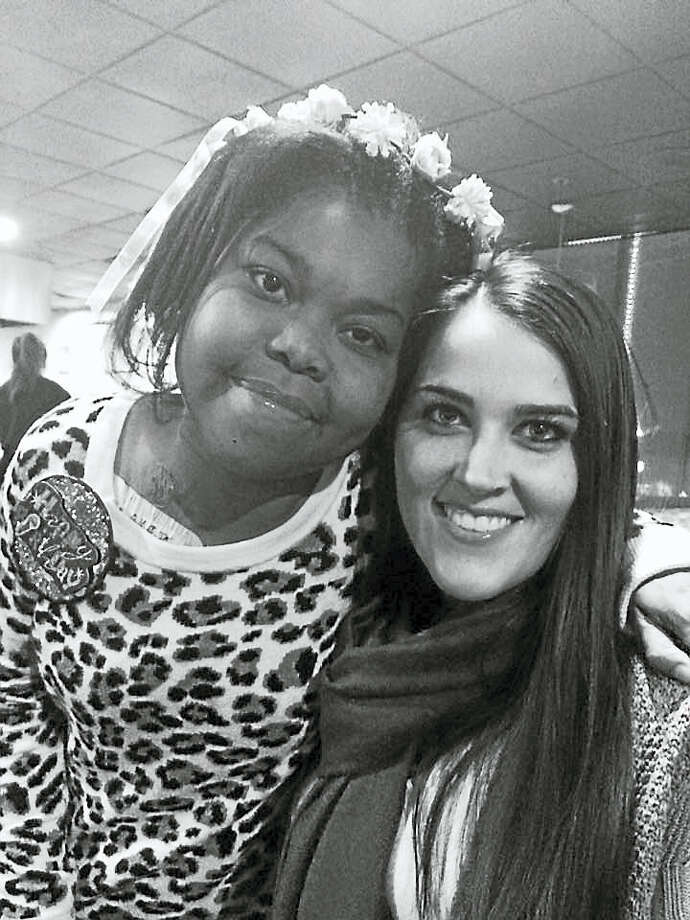 Middletown resident Navaiah Fulk, who turned 15 in December, and school district math specialist Megan Mahon, who met the Woodrow Wilson Middle School student while teaching math, have become friends. The teen was born with gastroschisis, a birth defect of the abdominal wall. Photo: Courtesy Photo