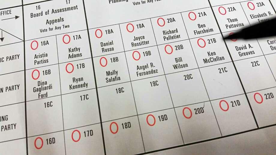 A Middletown ballot Photo: File Photo