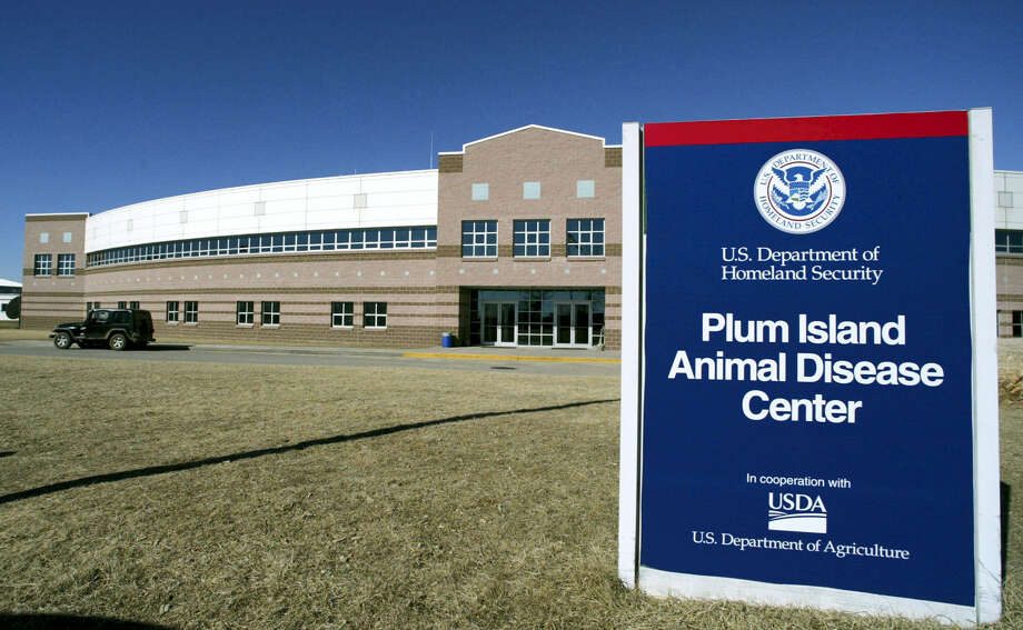 In this Feb. 16, 2004 file photo, the Plum Island Animal Disease Center on Plum Island off of the east coast of New York's Long Island is shown. Lawmakers in New York and Connecticut are renewing efforts to halt the planned sale of Plum Island; the 840-acre island off the eastern tip of Long Island houses the government's only lab studying infectious diseases that could imperil the U.S. livestock industry. Photo: AP Photo/Ed Betz, File / Copyright 2016 The Associated Press. All rights reserved. This material may not be published, broadcast, rewritten or redistributed without permission.