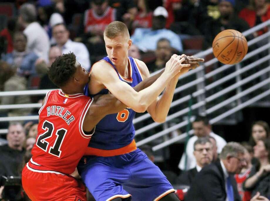 The Associated Press New York Knicks' Kristaps Porzingis scored a career-high 29 points to lead the Knicks past the Bulls 115-107 Wednesday. Photo: AP / AP