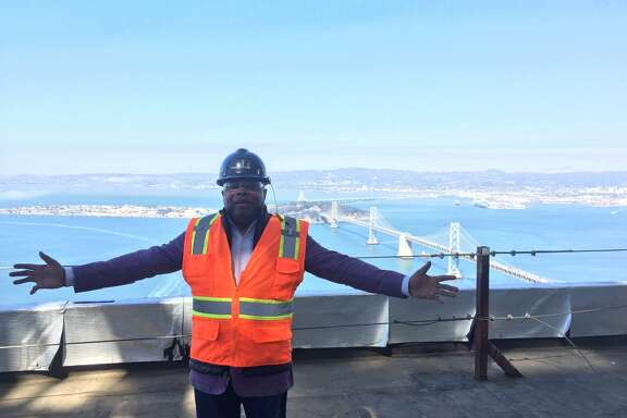Willie Brown enjoys the view from the top of Salesforce tower.