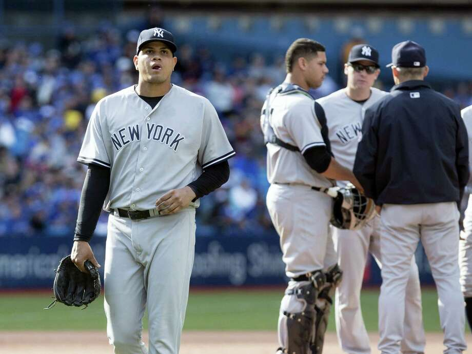 Yankees pitcher Dellin Betances comes out of the game in the ninth inning on Sunday. Photo: Fred Thornhill — The Canadian Press Via AP  / The Canadian Press