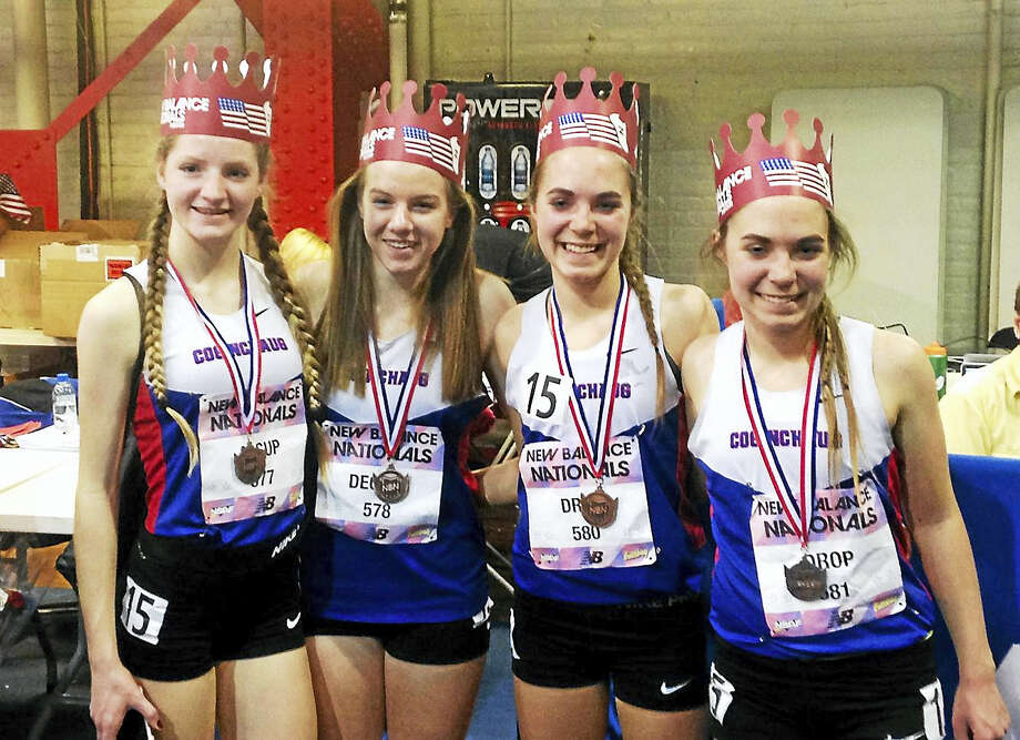 Coginchaug's Distance Medley team, from left, Allie Alsup, Megan Decker, Jessica Drop, and Samantha Drop, earned All-American status at the New Balance Indoor Track and Field National Championship meet. Photo: Jack McShane — Special For The Press