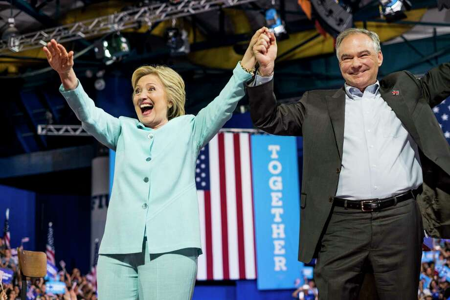 Hillary Clinton, left, and her vice presidential choice Sen. Tim Kaine during a rally in Miami on Saturday. Photo: Melina Mara — The Washington Post  / The Washington Post