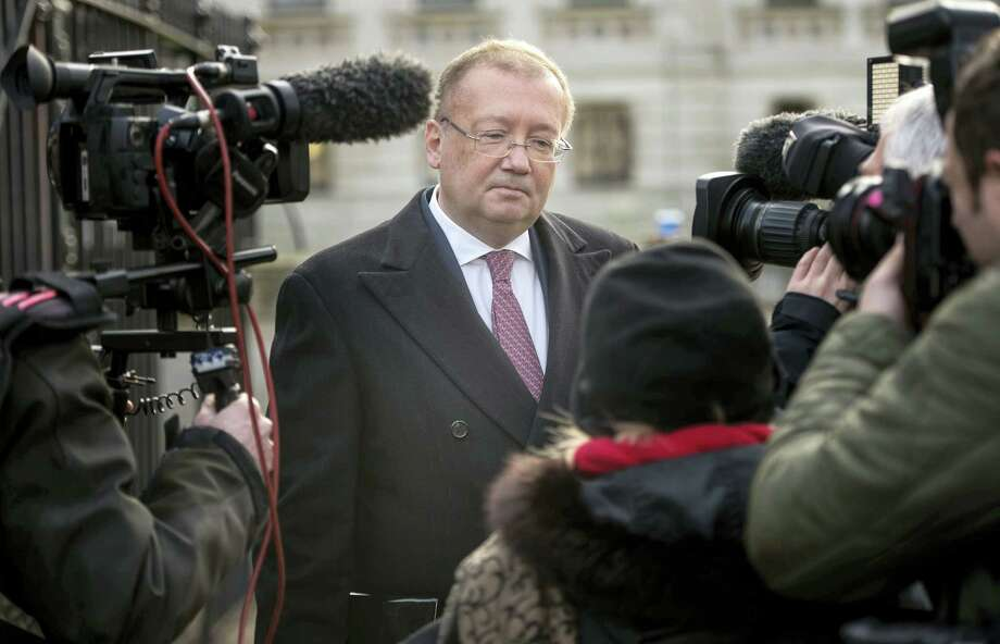 Ambassador of the Russian Federation Alexander Yakovenko speaks to the media after being summoned to the Foreign Office in London on Jan. 21, 2016. The Russian ambassador has been summoned following the findings of Litvinenko inquiry on Thursday. Photo: Anthony Devlin/ PA Via AP  / PA
