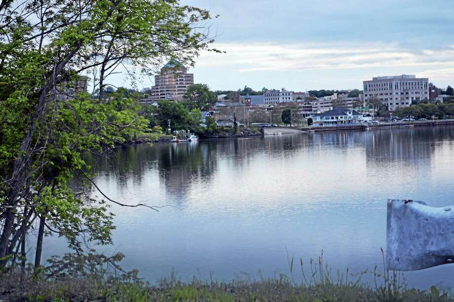 The Connecticut River at Harbor Park as seen from River Road. Police say the body of an unidentified person was recovered from the waters on Tuesday evening. Photo: Cassandra Day — The Middletown Press