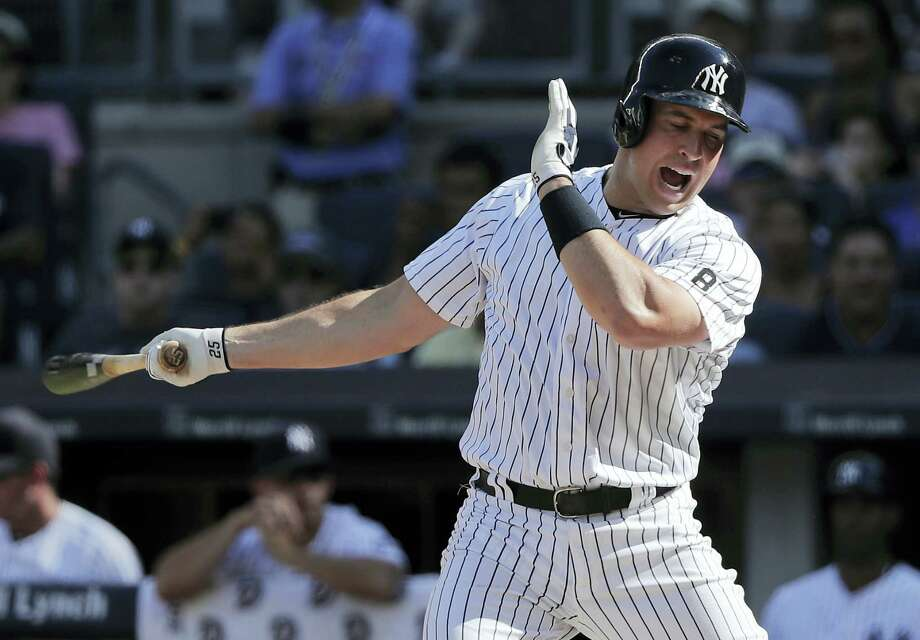 Mark Teixeira reacts after striking out during the second inning against the Giants on Saturday. Photo: Julie Jacobson — The Associated Press  / Copyright 2016 The Associated Press. All rights reserved. This material may not be published, broadcast, rewritten or redistribu