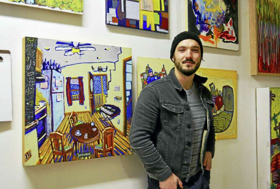 Resident artist Peter Albano is seeking to change people's perceptions of the North End through a new collaboration with the North End Action Team. He received a $5,000 grant from the state to create 50 different paintings for 50 families who live in that portion of the city. Photo: Sam Norton — The Middletown Press