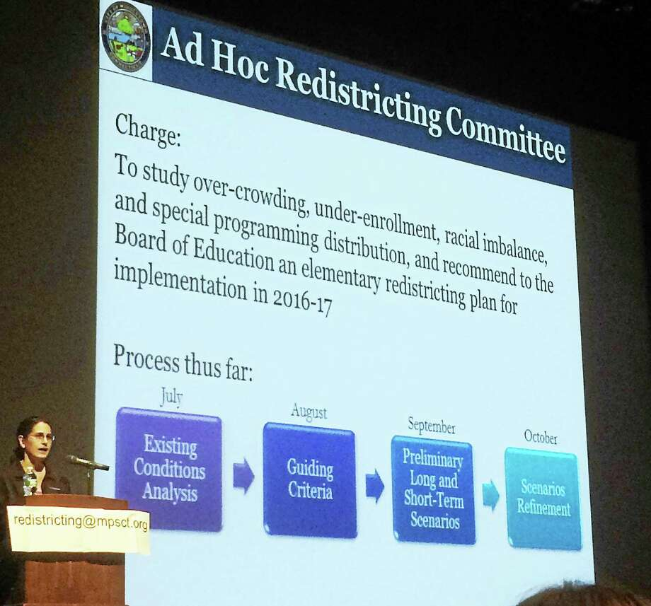 Last October, the Middletown school district hosted a redistricting forum. On Wednesday, the Board of Education committee studying redistricting proposals for school overcrowding and racial imbalance presented a number of suggestions to remedy the problem. Photo: Courtesy Middletown Eye